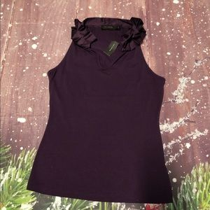 NWT The Limited Ruffle Neck Purple Sleeveless Top